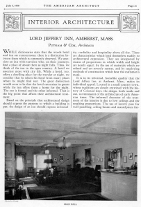 Lord Jeffery Inn in The American Architect