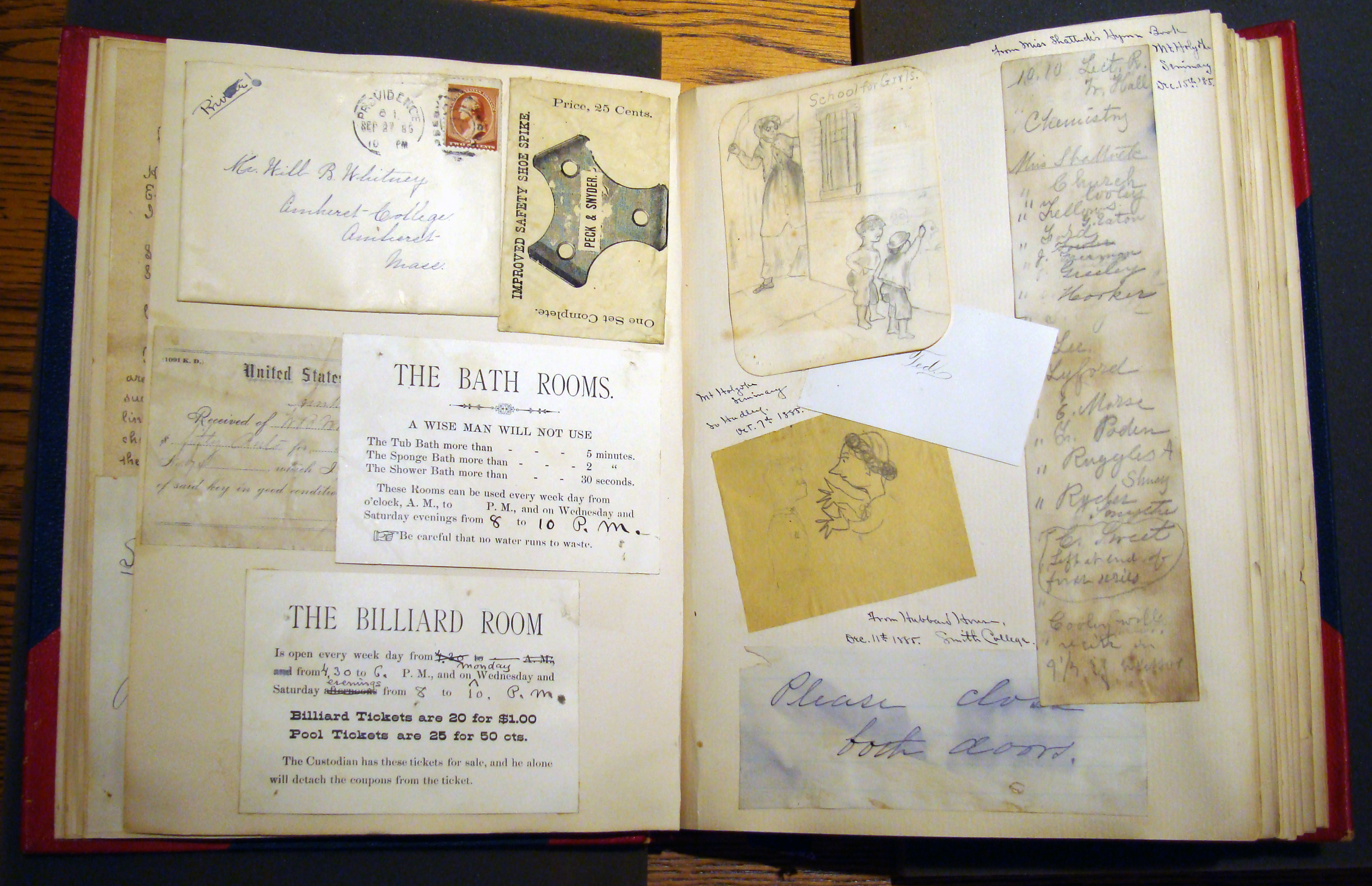 image of scrapbook showing clippings, letters, cartoon