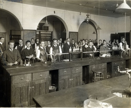 A later chem lab with Professor Arthur J. Hopkins (Class of 1885; taught at Amherst from 1895-1939)