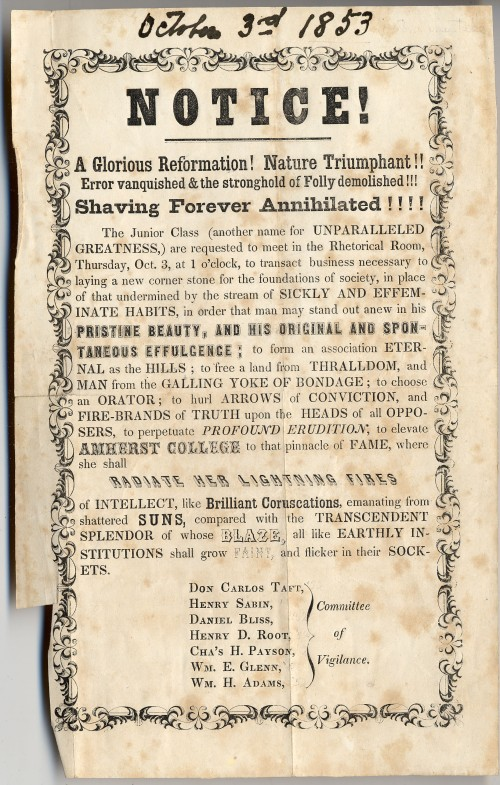 "The proclamation of the Philopogonia Society.  The 1853 date must be an error, perhaps carried over from the ""3"" in ""October 3rd.""  The records say that the Class of 1852 issued the proclamation in its junior year, which would be 1850-51."
