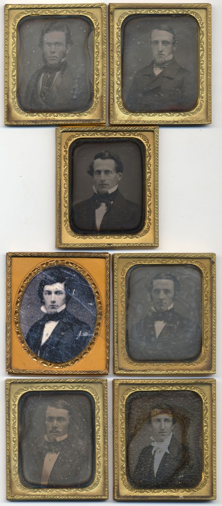 The Committee of Vigilance of the Philopogonia Society, photographed in 1852.  From the top, left to right: Don Carlos Taft, Henry Sabin, Daniel Bliss, Henry D. Root, Charles H. Payson, William E. Glenn, and William H. Adams.