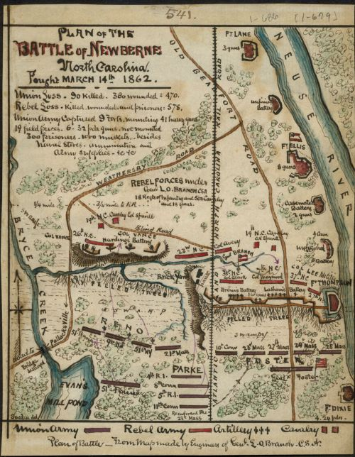 """""""Plan of the Battle of Newberne.""""  Map by Robert Knox Sneden, 1832-1918.  The original is at the Virginia Historical Society, P.O. Box 7311, Richmond, VA 23221-0311"""