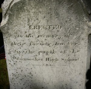 """""""Erected in the memory of their former teacher by the pupils of the Woonsocket High School.""""  With love.  Photograph by """"Ryk"""" at www.findagrave.com"""