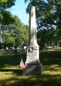 """Henry Reuben Pierce's monument in Oak Hill Cemetery.  Photograph by """"Ryk"""" at www.findagrave.com."""