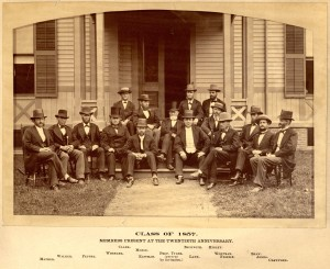 Men Who Stare Down Bowlders: Members of the Class of 1857 at their Vigintennial Meeting. Morse and Frisbie are left and right of center respectively.