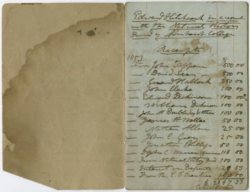 Edward Hitchcock account book for the natural history fund of Amherst College, 1853-1863