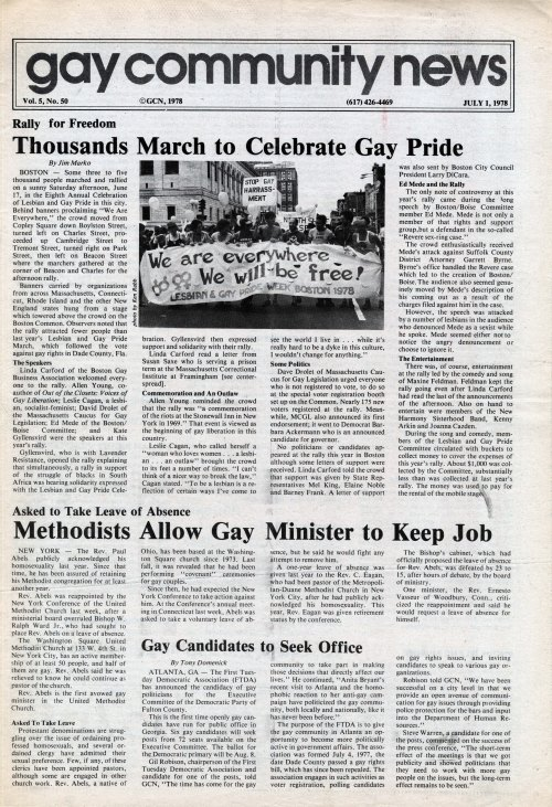 Gay Community News. v. 5, no.50. Boston, 1978.