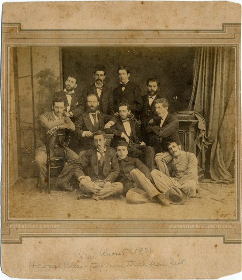 Howard Bliss (AC 1882), son of Daniel Bliss (AC1852) and his wife Abby Maria Wood, standing in center of back row, with faculty from the Syrian Protestant College (now the American University of Beirut).  His father, Daniel Bliss, was a founder of the college, and Howard followed in his footsteps, serving as president from 1902-20.  This line of Bliss missionaries are cousins to Edwin Elisha Bliss and his line.  Photograph from the   [Daniel] Bliss Family Papers.