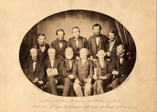 Luminaries in the missionary field: J. W. Parsons; Isaac Grout Bliss (AC 1844); D. Ladd; Edwin Elisha Bliss (AC 1837); Aug. Walker; Cyrus Hamlin; Elias Riggs (AC 1829); William G. Schauffler; H.G. O. Dwight; William Goodell; and Henry Van Lennep (AC 1837).  Constantinople, 1859.