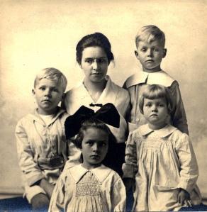 Charlotte Allen Ward (MHC 1903) and her children.  Passport photo (1916) in Paul Langdon Ward (AC 1933) Papers.