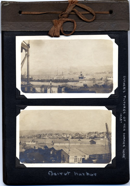 """""""Beirut Harbor"""": Page from Esther G. Ward Easton's photograph album.  Esther was a daughter of Edwin St. John Ward (AC 1900), a doctor and missionary with long service in the Middle East.  Album is in the Paul Langdon Ward (AC 1933) Papers."""