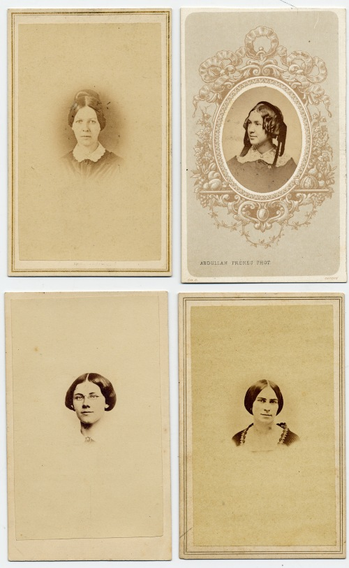 The four wives of William Frederic Williams: top row, left to right, Sarah Pond and Harriet Harding; bottom row Caroline Barbour and Kate Pond.