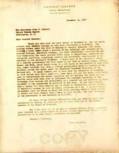Charles W. Cole letter to Senator John F. Kennedy