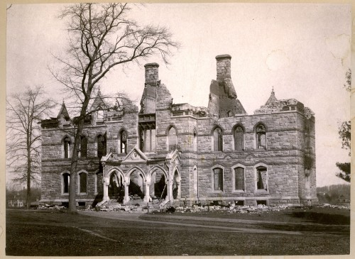 Walker Hall after the fire 1882
