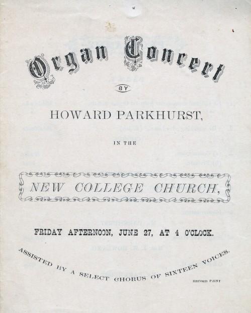 """Organ Concert by Howard Parkhurst"" Parkhurst Biographical File."