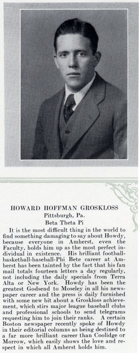 Howard Grosskloss' entry in the 1931 Olio yearbook