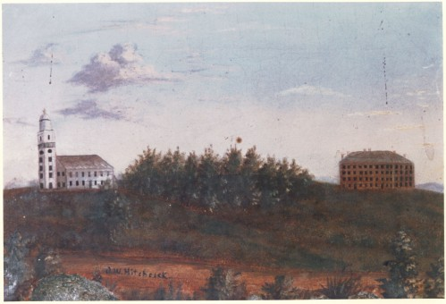 Amherst College in 1821. Oil painting by Orra White Hitchcock. Mead Art Museum.