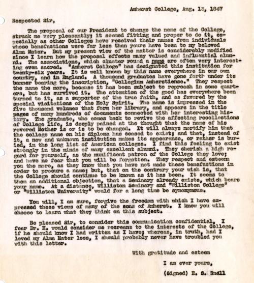 E.S. Snell (AC 1822) to Samuel Williston, August 13, 1847. [transcript] In: Early Trustee Records, box 1.