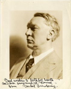 Signed photographic portrait of Vachel Lindsay, from the Lawrence H. Conrad Vachel Lindsay and Robert Frost Collection.