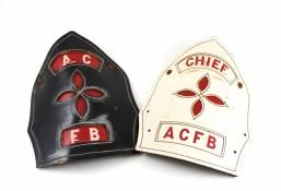 Amherst College Fire Brigade helmet shields