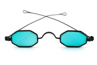 Glasses with blue lenses