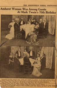 Photos from Mark Twain's 70th birthday party, Dec. 5, 1905. From an article in the Springfield Union, Dec 9, 1935. Briscoe is in white in the lower right, bottom picture.