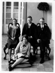 Mr. and Mrs. Morrow with Lindbergh in Mexico City, 1927. Sitting on the floor: Constance Morrow, who  for a time was rumored to be Lindbergh's love interest. [Morrow Papers, Series XIV, box 1, folder 31]