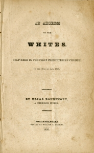 An Address to the Whites. Philadelphia, 1827.