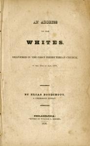 An Address to the Whites. Philadelphia, 1827.