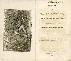Eulogy on King Philip... (Boston, 1836)
