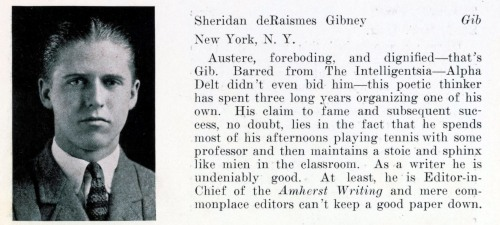 Gibney's senior portrait in the 1925 Olio, the college yearbook.