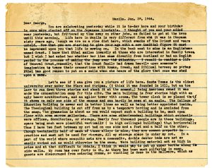 Letter from Santo Tomas dated January 28, 1944.