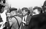 President Kennedy during his visit to campus, October 1963. (image 63-001-8 neg 23)