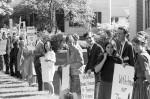 Vietnam War protesters at commencement 1966, the commencement speaker was Robert MacNamara. (image 66-005-6 neg 15)
