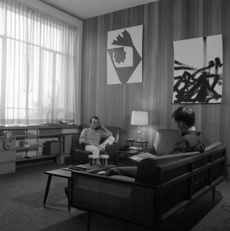 Common area inside one of the newly finished social dorms, summer 1963. (67-080-2 neg 11)