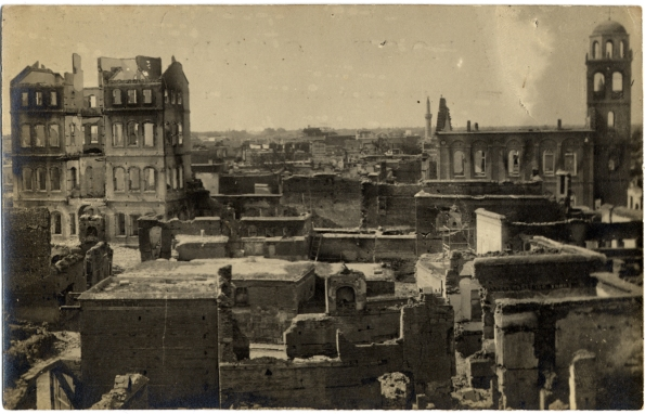 "Ward's journal: ""Constantinople. Monday, April 19 [1909]. Upon arrival found Mr. Peet away and Mrs. Peet quite anxious as to danger of massacre & looting. Terrible news from Adana, 2 Am. Missionaries killed, Armenians massacred. Drs. Greene, Herrick, Mr. Peet, Carson & Mrs. Mardin consulted about sending relief."""