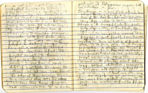 Frank Cary's notebook included many pages of detailed descriptions of his fellow internees.