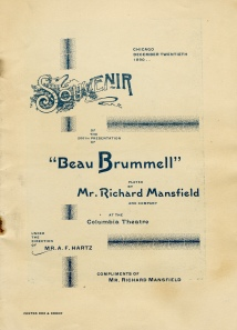 """Beau Brummell"" Program. Chicago, 1890."