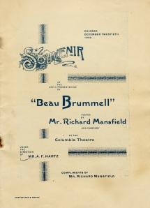 """Beau Brummell"" Program. Chicago, 1890."