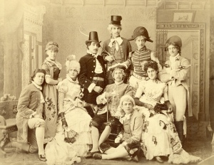"""Cast of """"The Rivals"""" at Amherst College, 1885. (Fitch seated, far right)"""