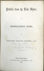 """Title page of """"Pebbles from the Lake Shore,"""" by Charles Leland Porter"""
