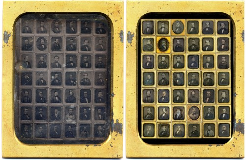 Group daguerreotype for the Class of 1852: resealed original at left and a new image created by merging the 42 individual daguerreotypes into one in Photoshop.
