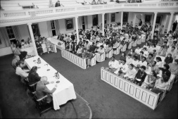 A public forum on divestment in early October 1985
