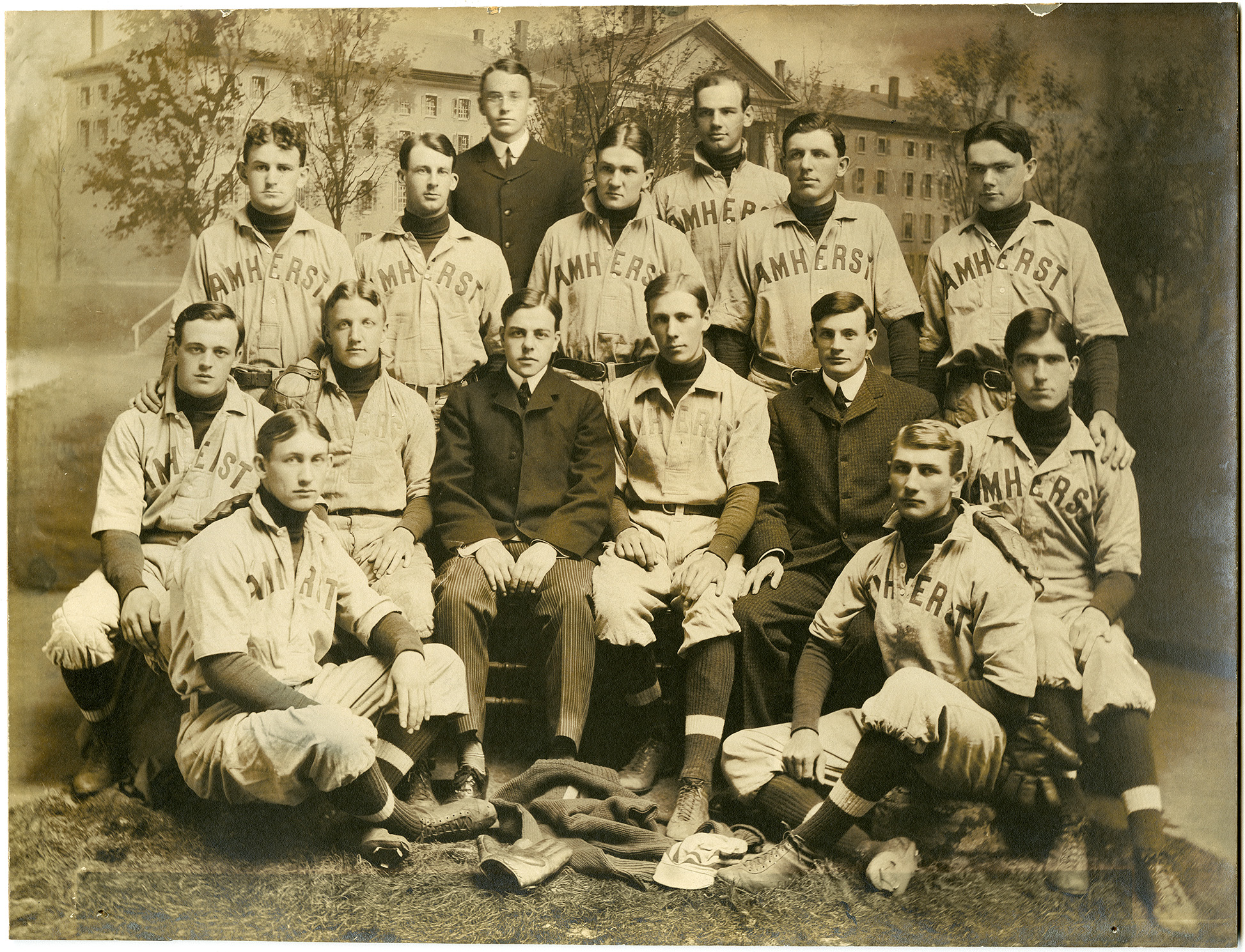 Amherst's baseball team of 1902. Dunleavy and Kane are seen sitting  together in the middle