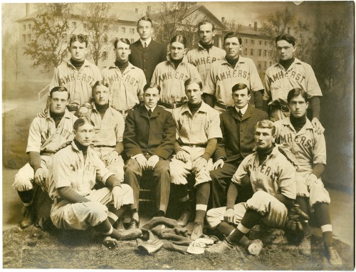 Amherst's baseball team of 1902. Dunleavy and Kane are seen sitting together in the middle row, far right.