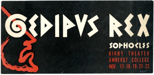A poster for the Masquers' production of Oedipus Rex, November 1955