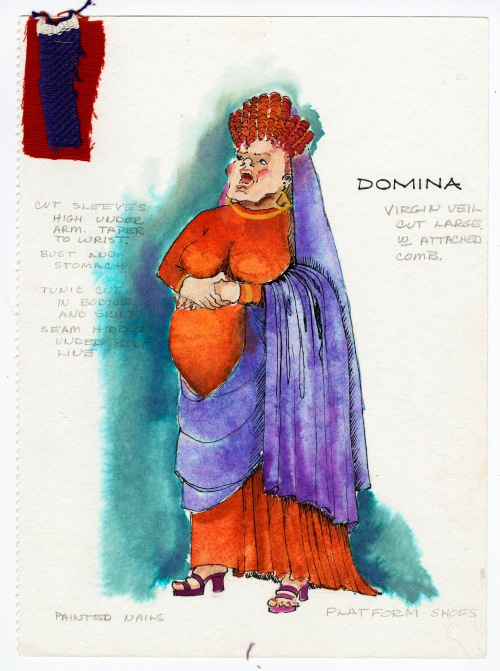 Costume sketch for Domina of A Funny Thing Happened on the Way to the Forum, which was produced in October of 1974 by the Masquers