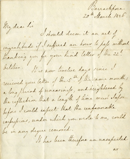 Letter from Lord Amherst, Bharatpur, 20 March 1826