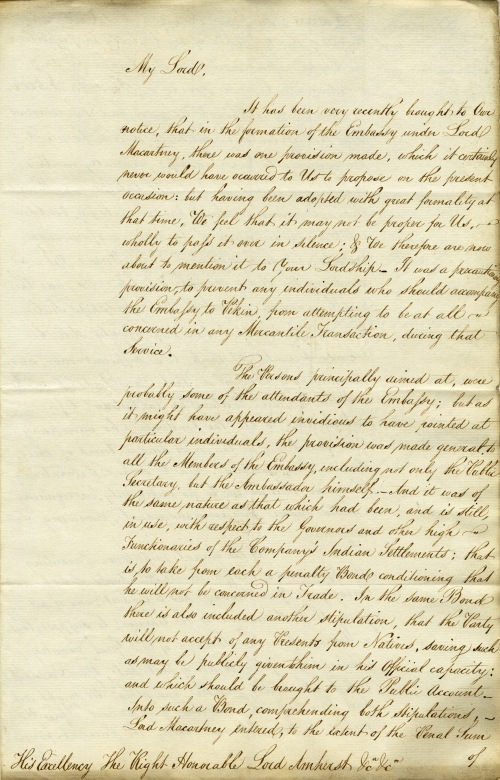 Letter to Lord Amherst from East India House, 26 January 1816.