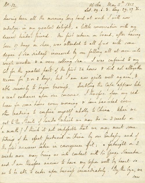 Letter from Lord Amherst to Lady Amherst, 11 May 1816.